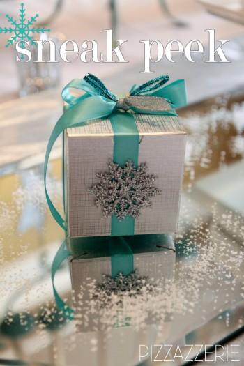 silver teal snowflake gift box