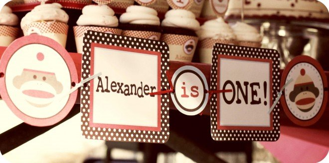 1st birthday party banner for boy