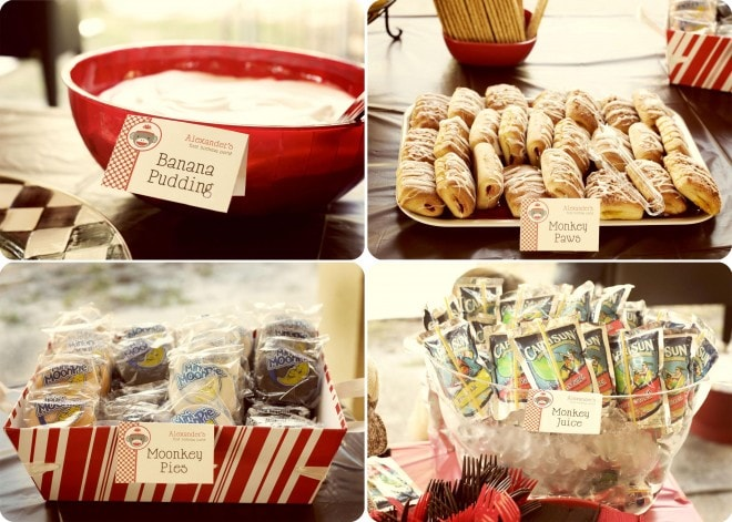 vintage sock monkey birthday party foods