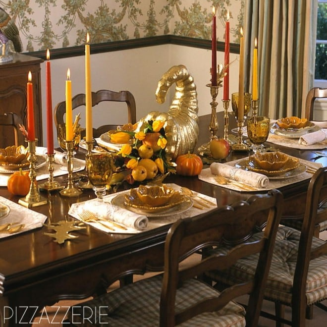 thanksgiving tablescape traditional with gold cornucopia