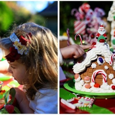 decorate children's party of gingerbread houses little girl