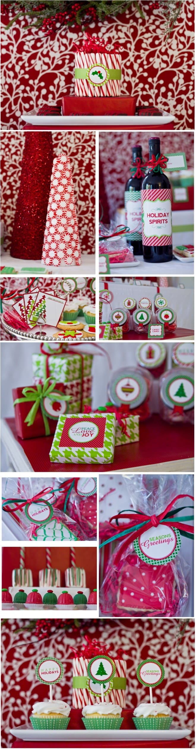 classic red and green holiday party printables