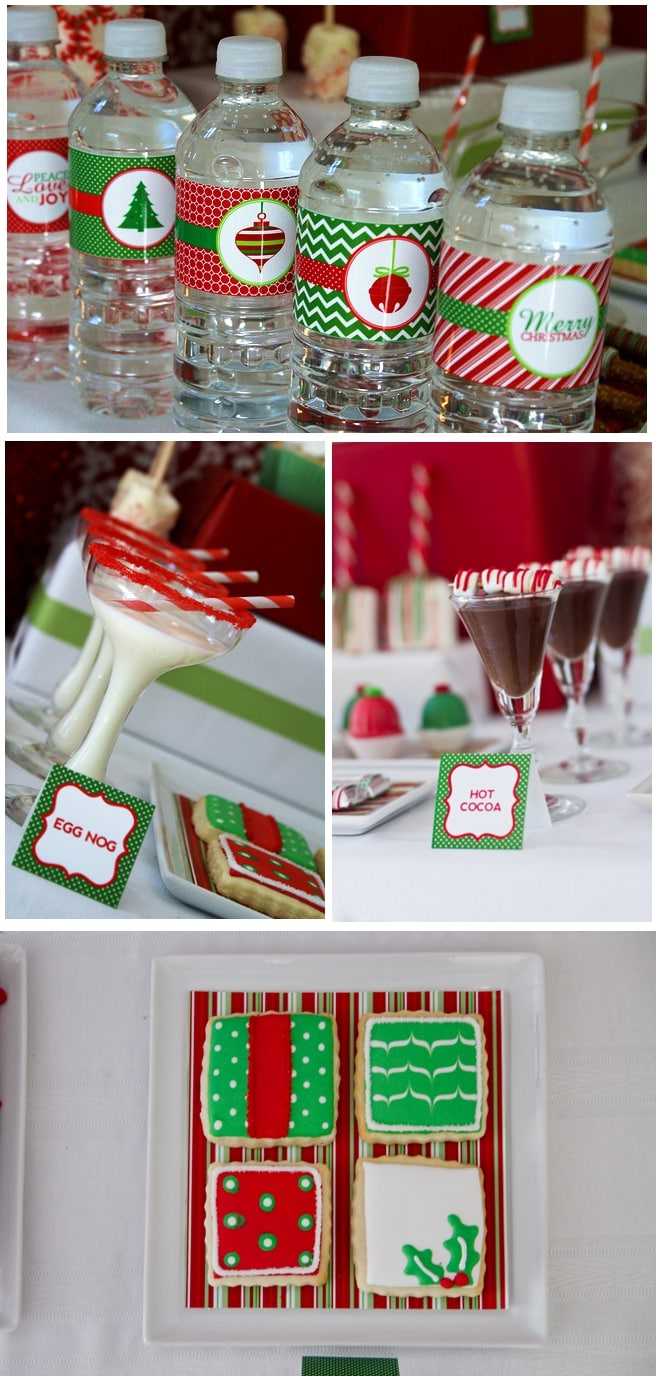 red and green christmas party tablescape