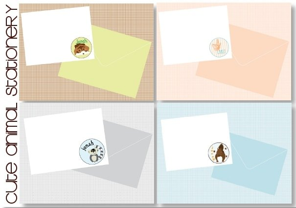 animal notecards for children