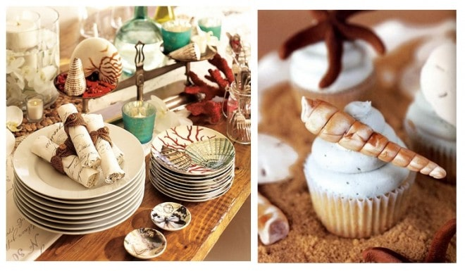 nautical cupcakes and party dishes