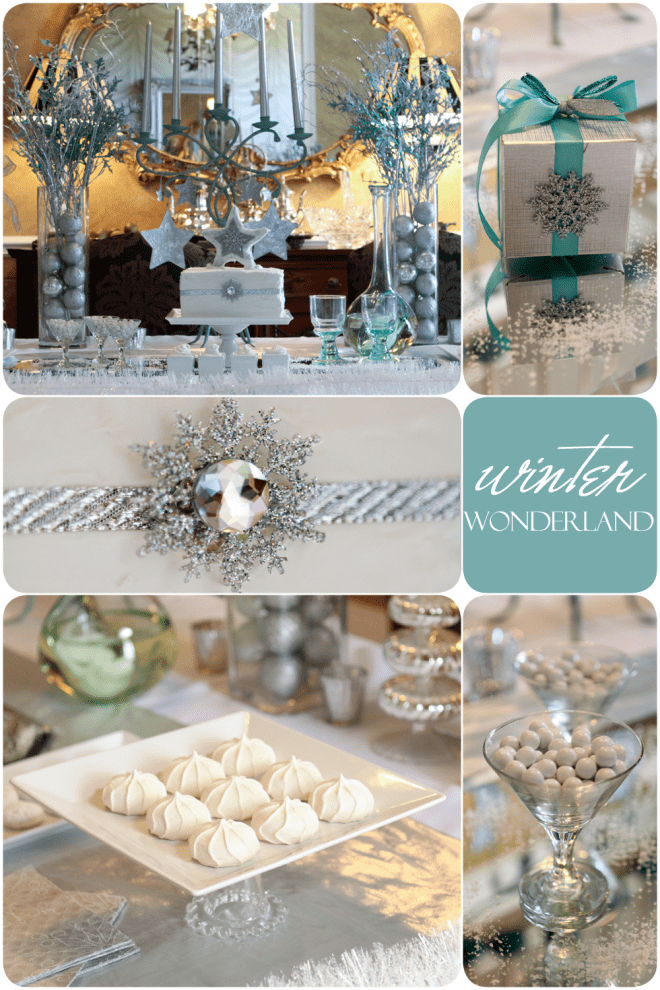 teal white winter wonderland party tablescape