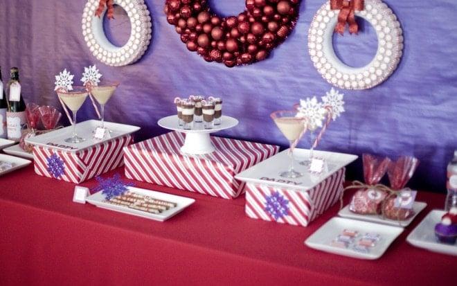 purple red dessert table