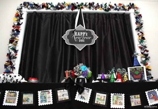 new years comics sign over tablescape