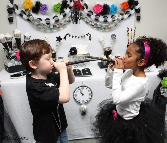 children at new years party