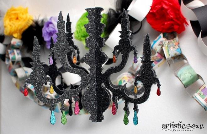glittered chandelier black