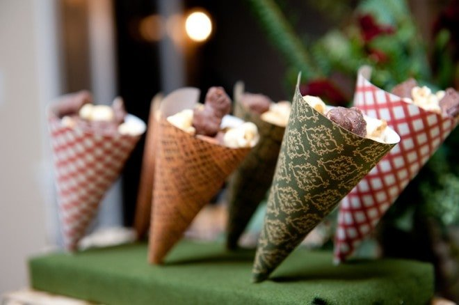 rustic paper cones for party
