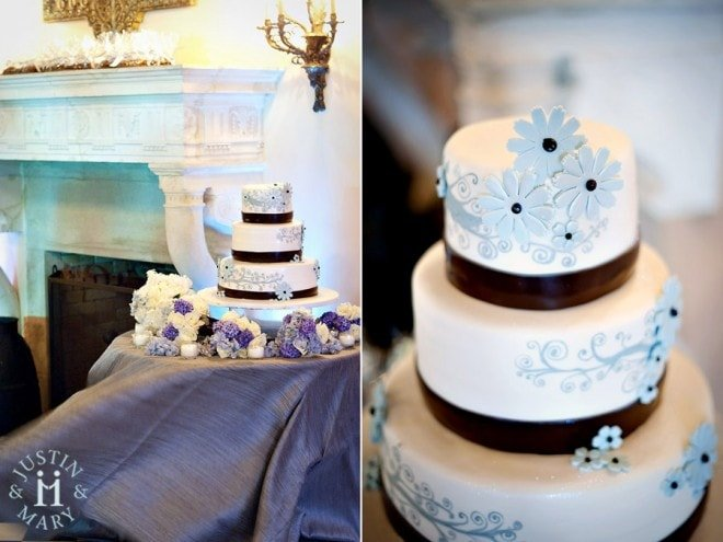 blue brown wedding cake flowers