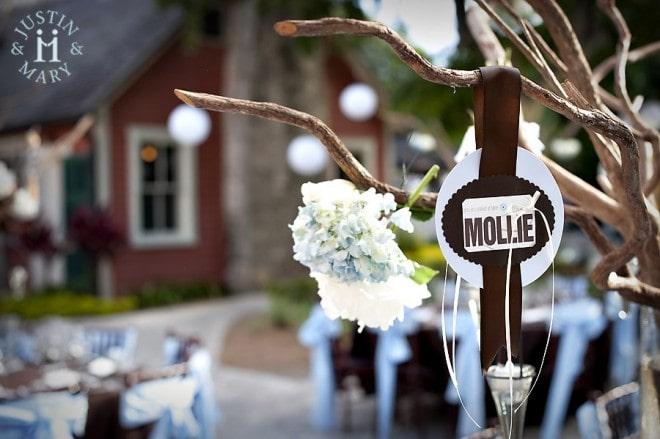 wedding branches centerpiece hydrangeas