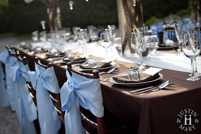 blue table chair covers