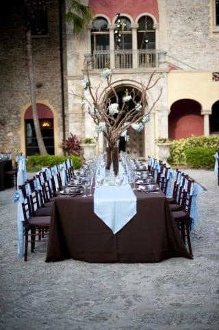 blue brown wedding tablescape