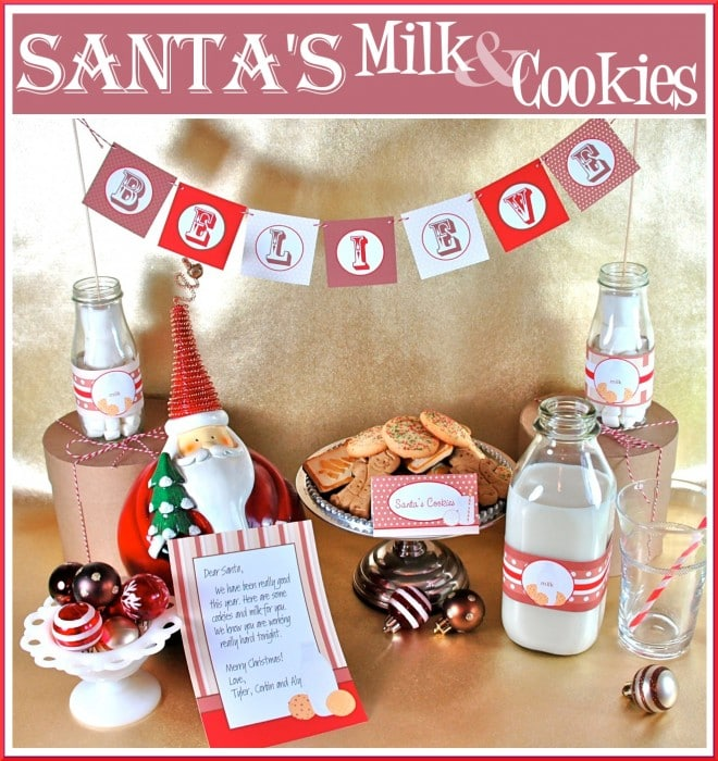 santa's milk and cookies display
