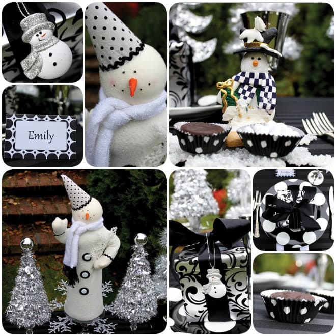 black and white christmas snowman holiday table