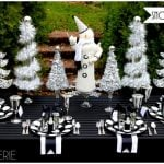 Black & White Snowman Holiday Table & DIY Garland Trees!