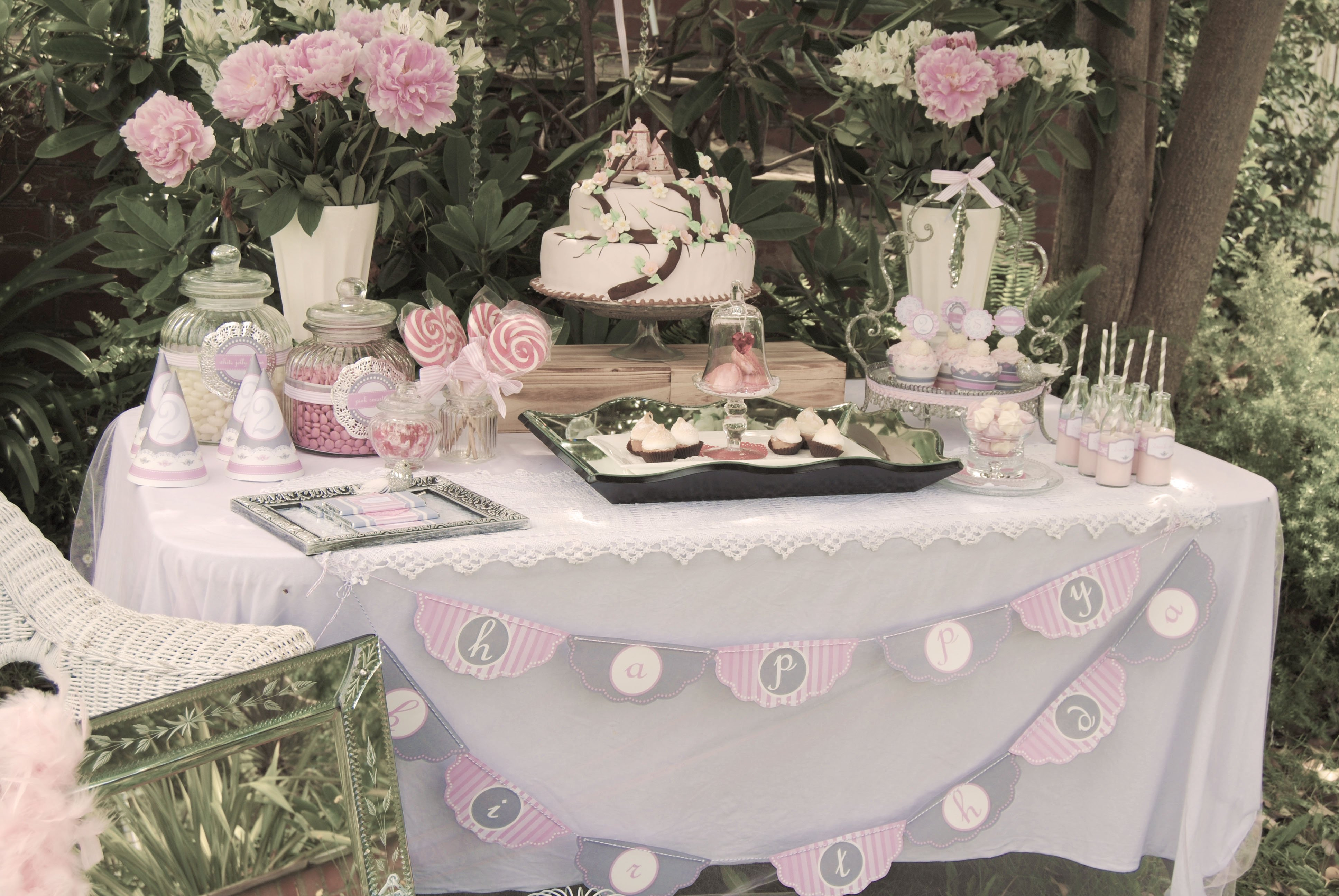 Vintage high tea birthday party pizzazzerie Party table setting decoration