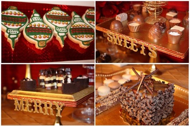 christmas holiday treats on dessert table