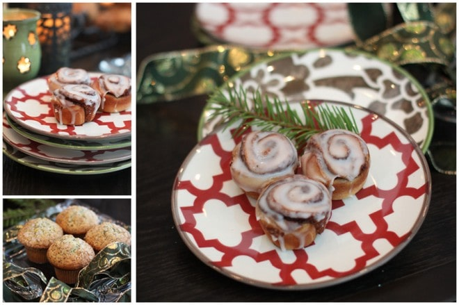 christmas willow house plates with cinnamon buns