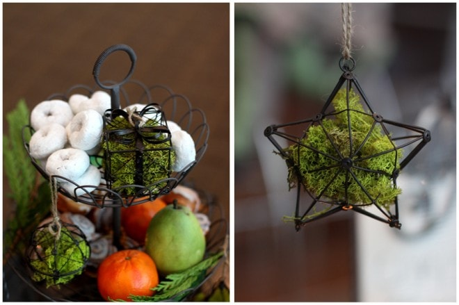 christmas hanging moss ornaments
