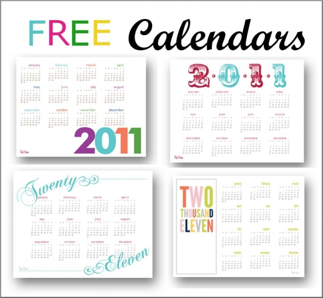 free 2011 printable calendars from red stamp