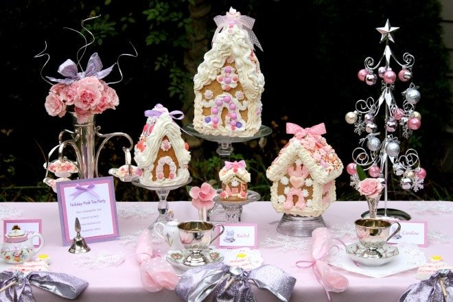 pink gingerbread house tea party