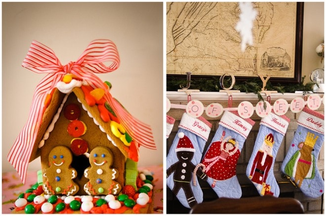 gingerbread house and stockings