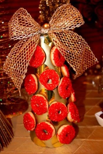 mini gourmet doughnuts on christmas tree