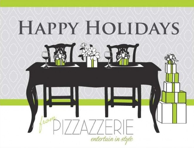 holiday card for pizzazzerie with tablescape