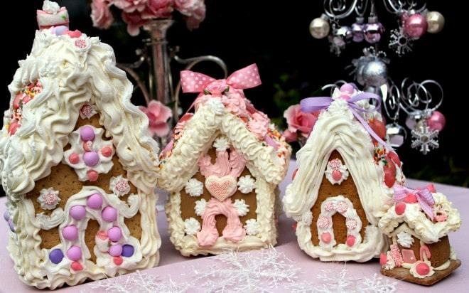 pink gingerbread house village