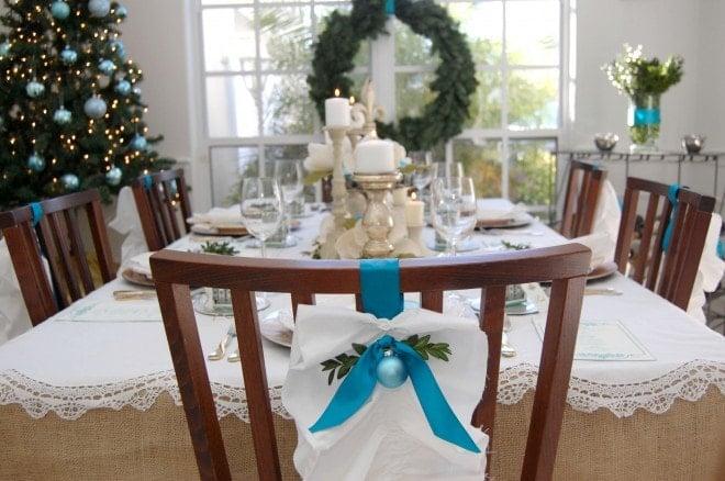 holiday table ribbon decoration