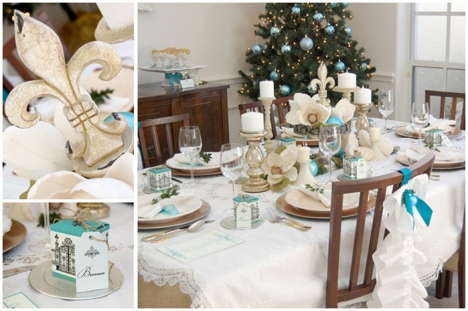 holiday white dinner party table