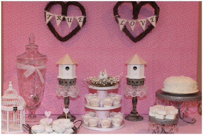love birds bridal shower tablescape