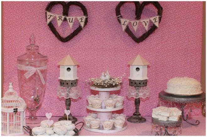 love birds bridal shower tablescape