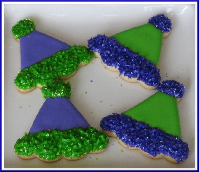 new year's party hat cookies