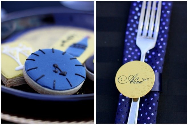 new years eve place cards and cookies