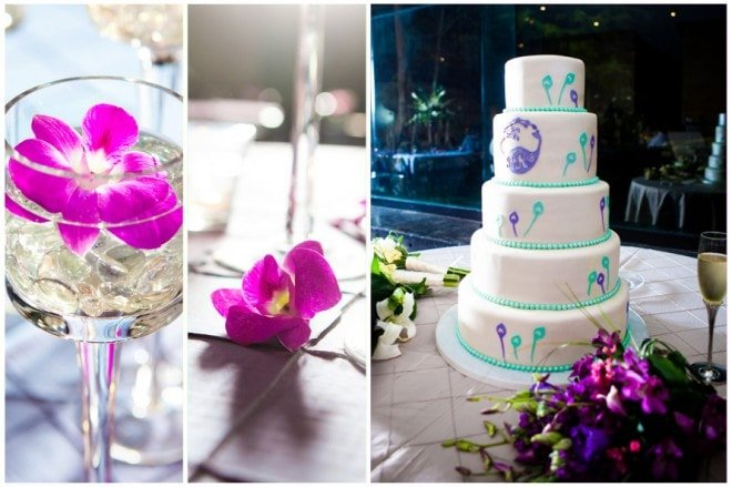 pink orchids wedding