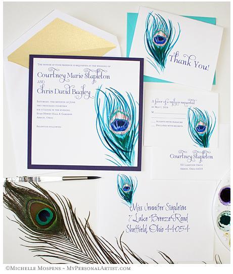 peacock invitations