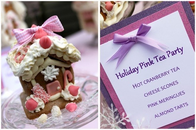 pink gingerbread house tea party menu