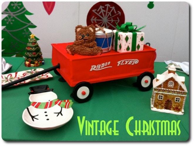 red wagon vintage christmas cake