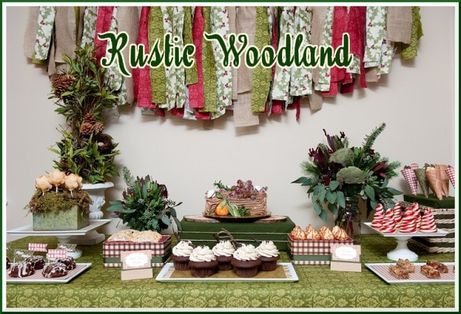 rustic woodland christmas dessert table