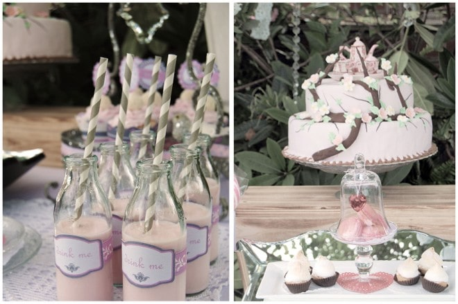 vintage drink me bottles and pink cake
