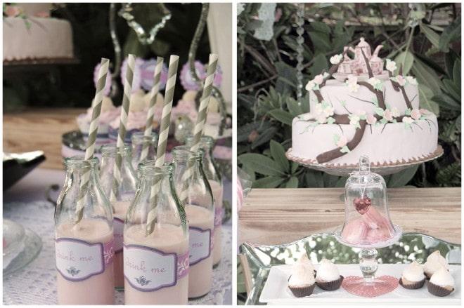 vintage drink me bottles and pink cake