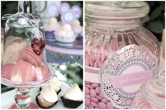 pink candy and macaroons