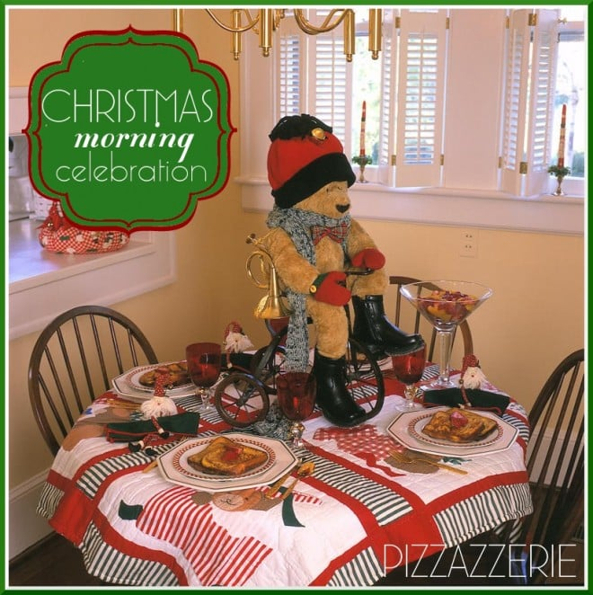 christmas morning tablescape teddy bear