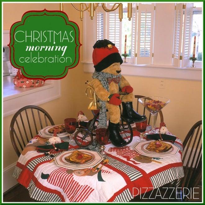christmas morning tablescape teddy bear