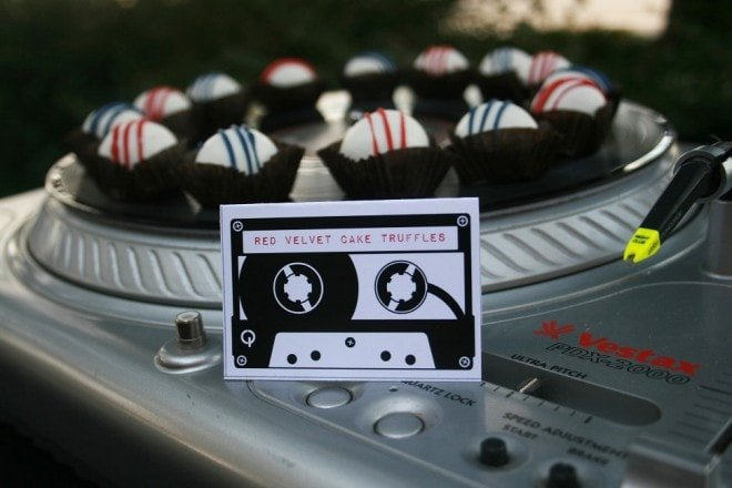 red velvet cake truffles music party
