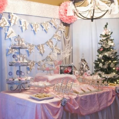 winter wonderland snow 1st birthday party